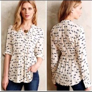 Anthropologie maeve horse print blouse